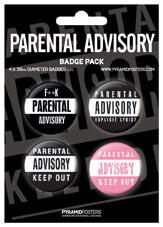 Plakietki zestaw  PARENTAL ADVISORY