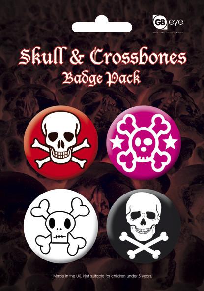 Plakietki zestaw SKULL AND CROSSBONES - 2
