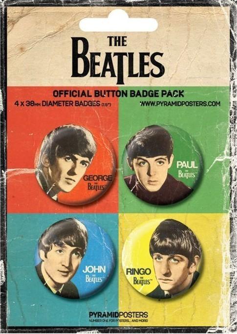 Plakietki zestaw THE BEATLES - John, Paul, George and Ringo