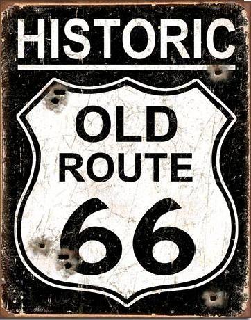 Plaque en métal OLD ROUTE 66 - Weathered