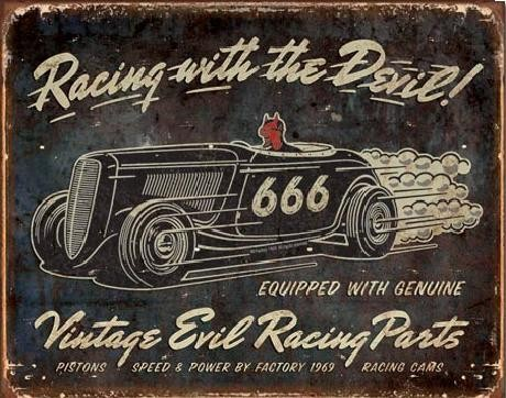 Plaque en métal VINTAGE - Evil Racing