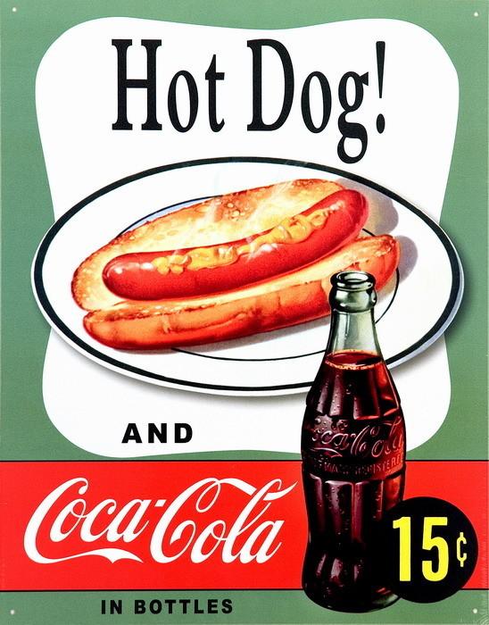 COKE HOT DOG Plåtskyltar