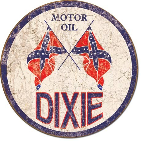 DIXIE GAS - Weathered Round Plåtskyltar