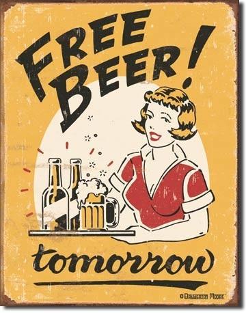 FREE BEER Plåtskyltar