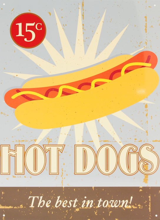 HOT DOGS Plåtskyltar