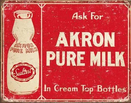 Plechová ceduľa  AKRON - Pure Milk