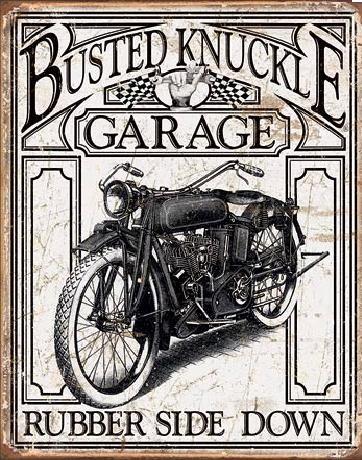 Plechová cedule BUSTED KNACKLE - Vintage