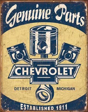 Plechová cedule CHEVY PARTS - Chevrolet Pistons