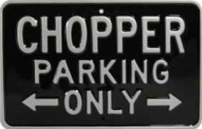 Plechová cedule CHOPPER PARKING ONLY - černá/stříbrná