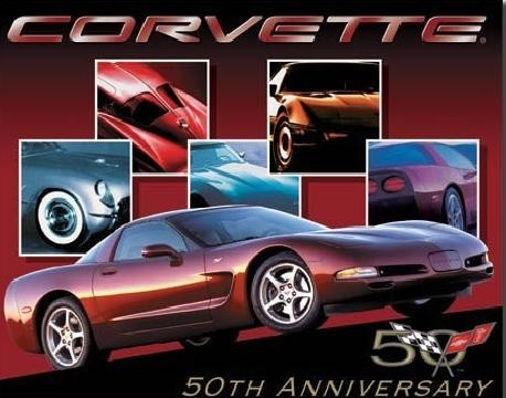 Plechová cedule CORVETTE - 50th car