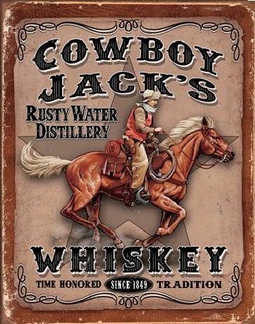 Plechová cedule COWBOYS JACK'S - Whiskey