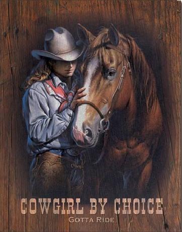 Plechová cedule COWGIRL BY CHOICE - Gotta Ride