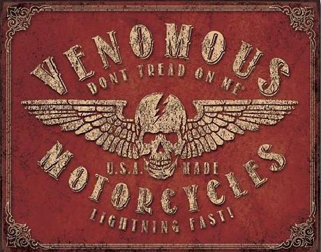 Plechová cedule  Don't Tread On Me - Venomous Motorcycles