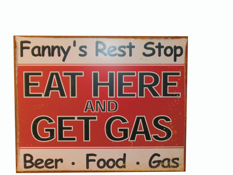 Plechová cedule FANNY'S REST STOP