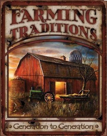 Plechová cedule FARMING TRADITIONS