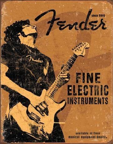 Plechová ceduľa  FENDER - Rock On