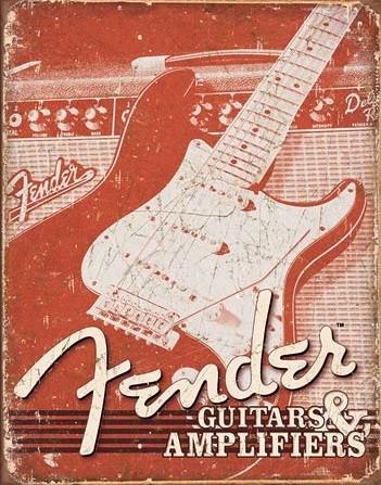 Plechová cedule  Fender - Weathered G&A