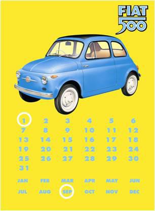 Plechová cedule Fiat 500 Calendar