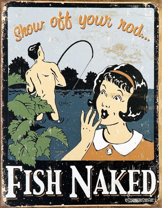 Plechová cedule FISH NAKED
