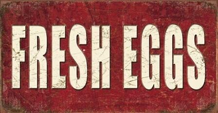 Plechová cedule Fresh Eggs