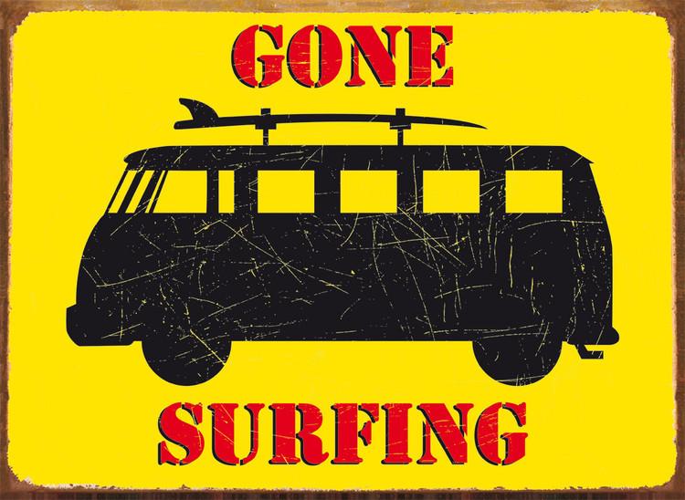 Plechová cedule GONE SURFING