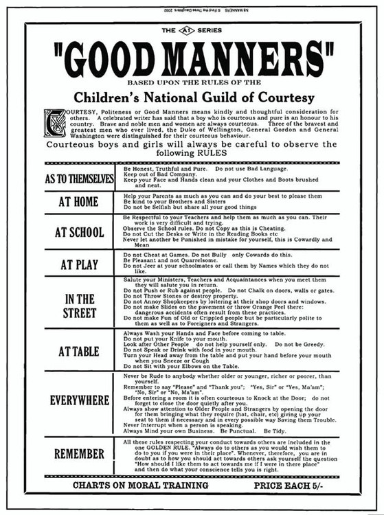 Plechová cedule GOOD MANNERS