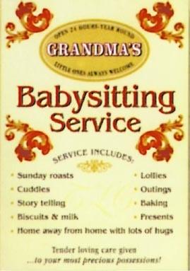 Plechová cedule GRANDMA'S - Babysitting service