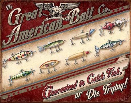 Plechová cedule GREAT AMERICAN BAIT CO.