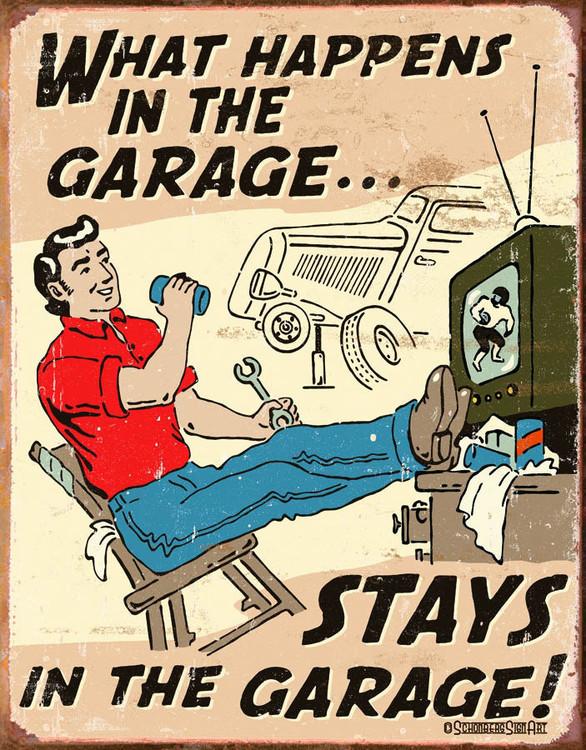 Plechová cedule HAPPENS IN GARAGE