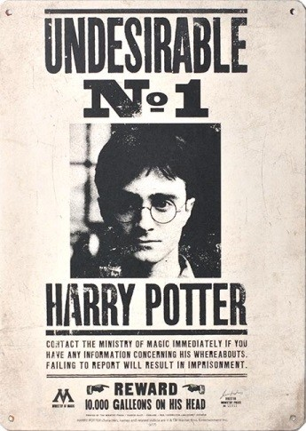 Plechová cedule Harry Potter - Undesirable No 1