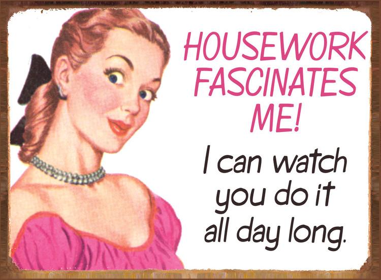 Plechová cedule HOUSEWORK FASCINATES ME