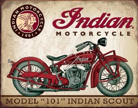 Plechová cedule INDIAN MOTORCYCLES - Scout Model 102