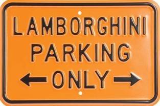Plechová cedule LAMBORGHINI PARKING ONLY - oranžová/černá