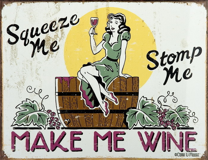 Plechová cedule MAKE ME WINE