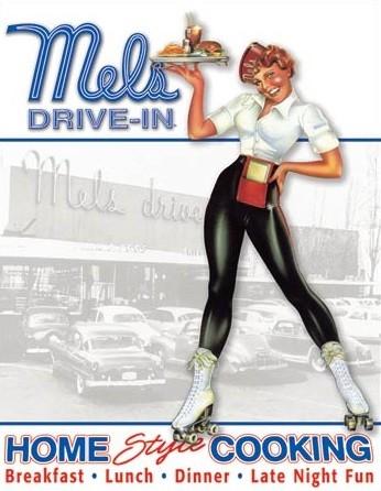 Plechová cedule  Mels Diner - Car Hop