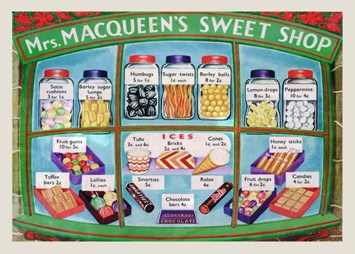 Plechová cedule Mrs. MACQUEEN'S SWEET SHOP