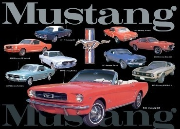 Plechová cedule MUSTANG COLLAGE