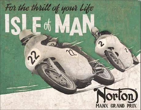 Plechová cedule NORTON - Isle of Man