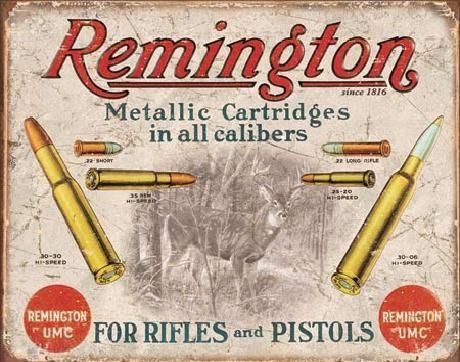 Plechová cedule  REM - REMINGTON - Pro pušky a pistole