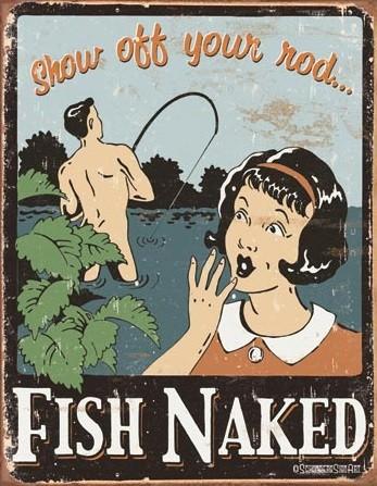 Plechová cedule Schonberg - Fish Naked