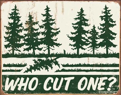 Plechová cedule  SCHONBERG - Who Cut One?