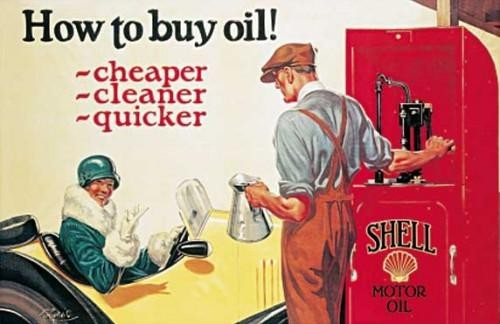 SHELL HOW TO BUY OIL - plechová cedule