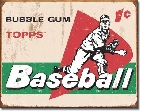 Plechová cedule TOPPS - 1958 baseball cards