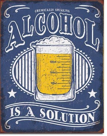 Plechová cedule Alcohol - Solution
