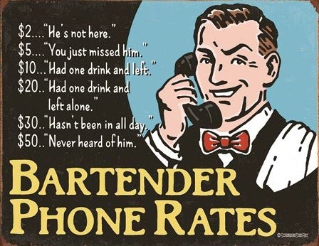 Plechová ceduľa Bartender's Phone Rates