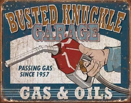 Plechová cedule BUSTED KNUCKLE - Gas & Oils