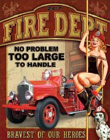 Plechová ceduľa FIRE DEPT - no problem