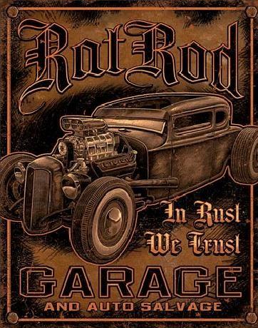 Plechová ceduľa GARAGE - Rat Rod