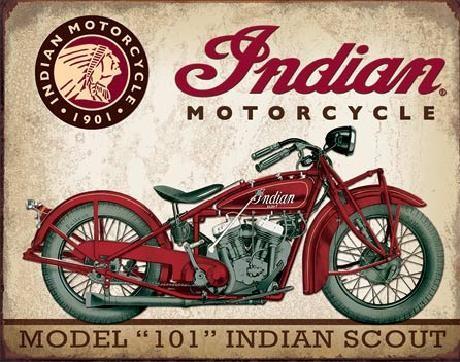 Plechová cedule INDIAN MOTORCYCLES - Scout Model 102