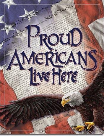 Plechová cedule Proud Americans